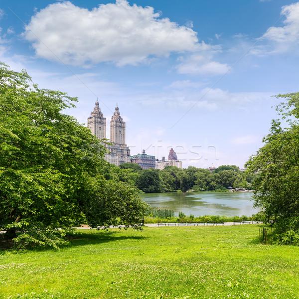 セントラル·パーク 湖 マンハッタン ニューヨーク 空 市 ストックフォト © lunamarina