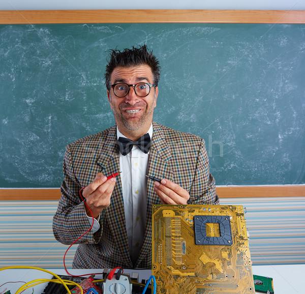 Stock fotó: Stréber · elektronika · technikus · hülye · retro · tanár