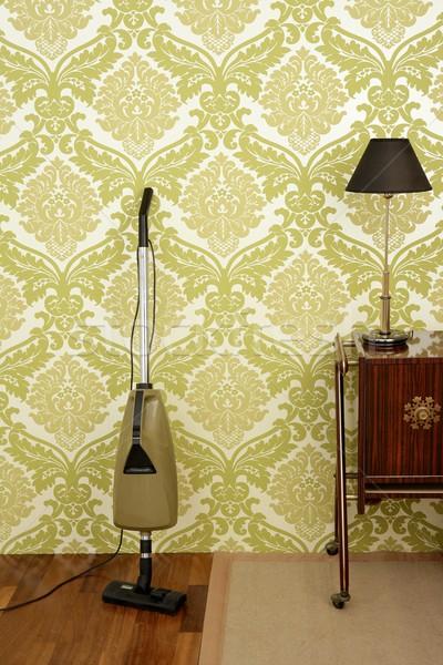 Retro odkurzacz vintage sześćdziesiątych tapety pokój Zdjęcia stock © lunamarina