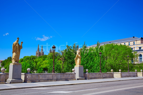 Burgos San Pablo bridge Statues on Arlanzon river Stock photo © lunamarina