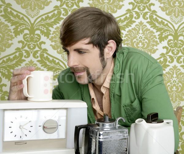 Stock foto: Geek · Retro · Mann · trinken · Tee · Kaffee