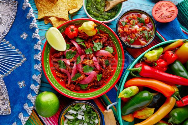 Cochinita Pibil Mexican food with red onion Stock photo © lunamarina