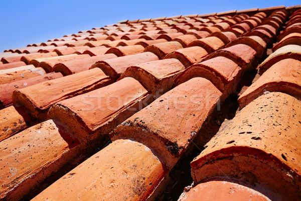 Arabic roof tiles pattern texture in Teruel Stock photo © lunamarina