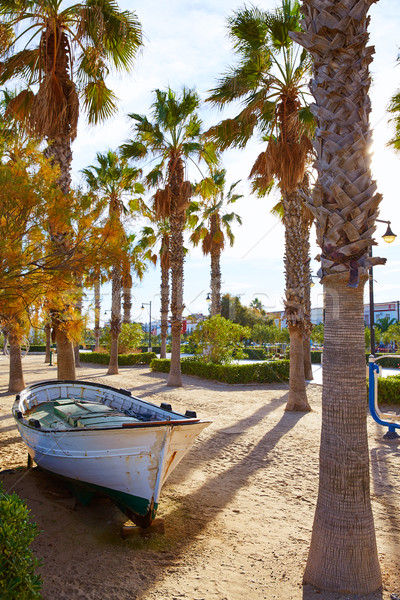 Valencia La Malvarrosa beach boats stranded Stock photo © lunamarina