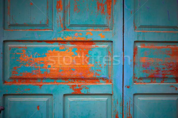 Zamora wooden door textures in Spain Stock photo © lunamarina