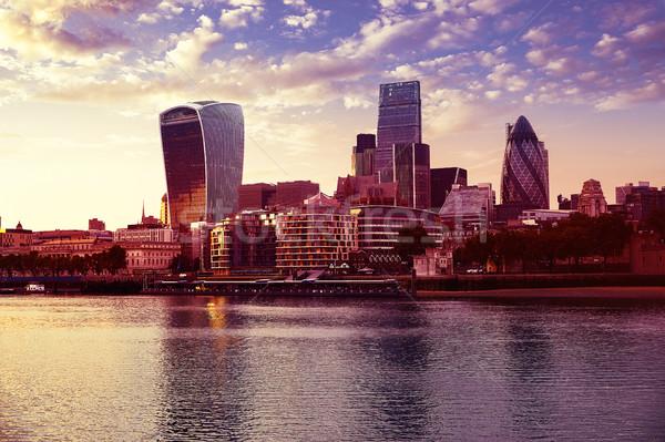 Londra financial district ufuk çizgisi gün batımı kare şehir Stok fotoğraf © lunamarina
