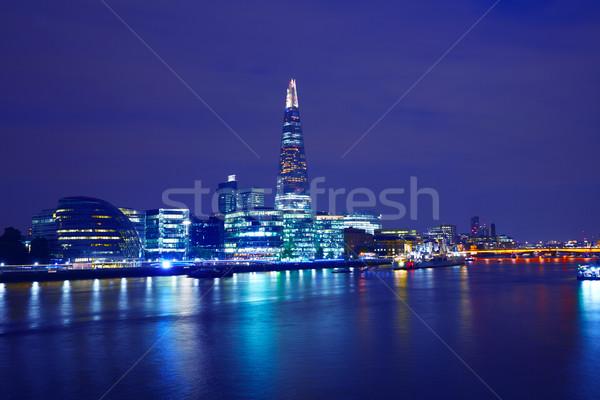 London skyline sunset City Hall and Shard Stock photo © lunamarina