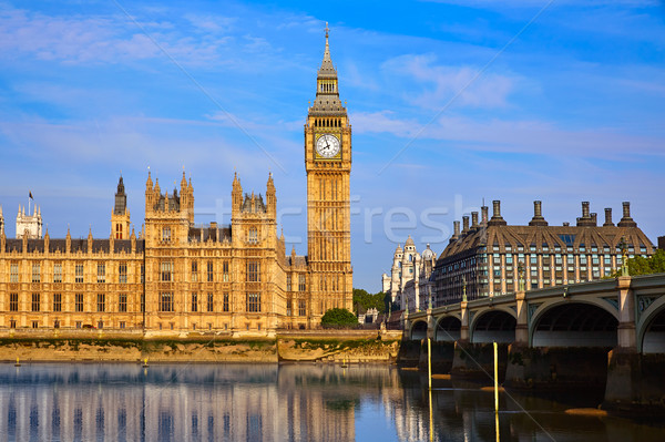 Stock photo: Big Ben Clock Tower and thames river London