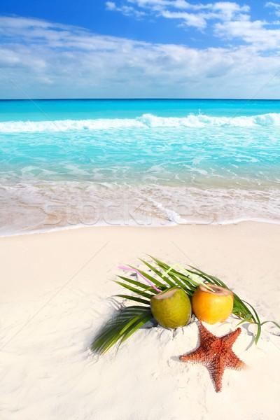 Stockfoto: Kokosnoot · cocktails · sap · zeester · tropisch · strand · tropische