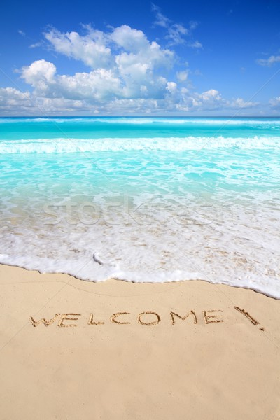 greetings welcome beach spell written on sand Stock photo © lunamarina