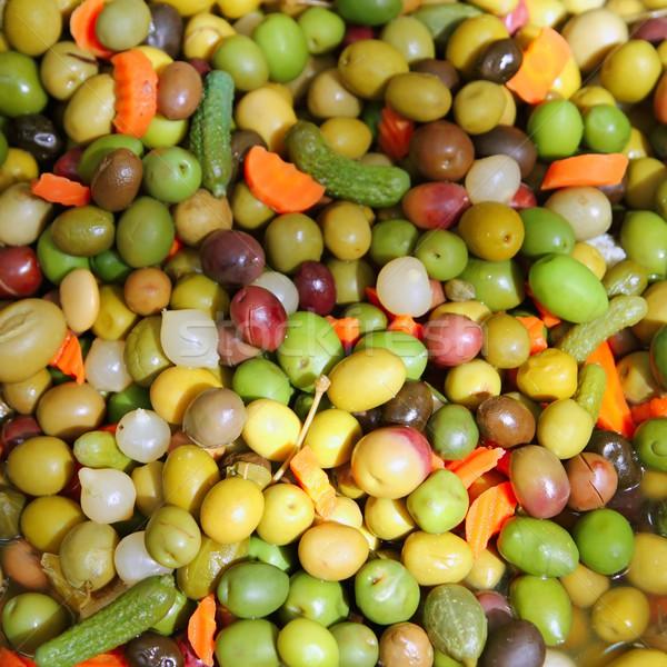 Olijven augurken textuur voedsel patroon middellandse zee Stockfoto © lunamarina