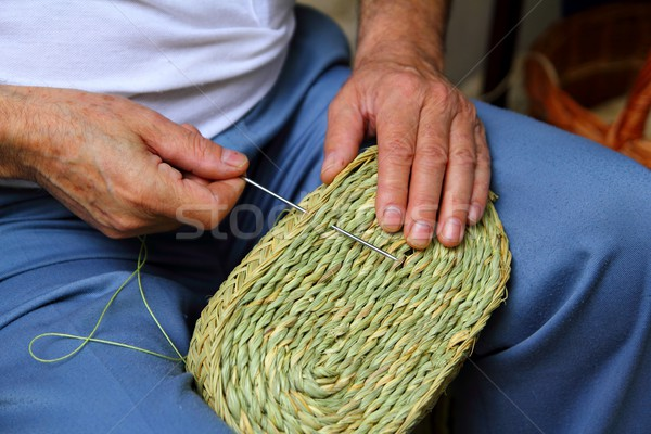craftsman sewing basket esparto grass weaver Stock photo © lunamarina