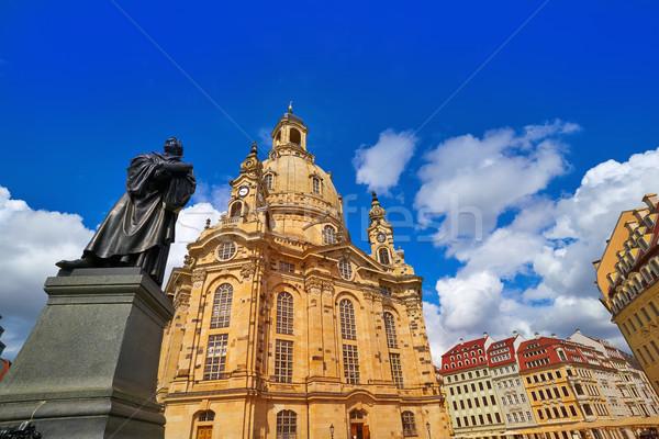 Martin Luther memorial and Frauenkirche Dresden Stock photo © lunamarina