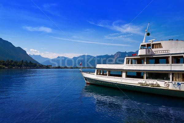 Lago barco Suíça pôr do sol paisagem Foto stock © lunamarina