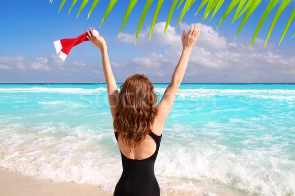 Stockfoto: Vrouw · toeristische · christmas · caribbean · vakantie