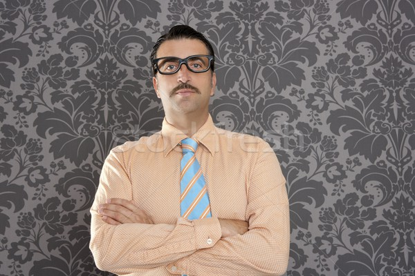 businessman nerd portrait retro glasses wallpaper Stock photo © lunamarina