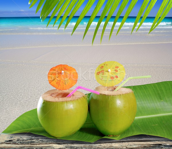 fresh tender green coconuts straw beach cocktails Stock photo © lunamarina