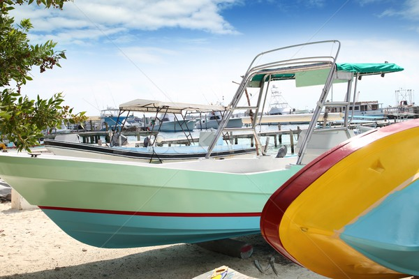 boats colorful in Isla Mujeres beach Mexico Stock photo © lunamarina