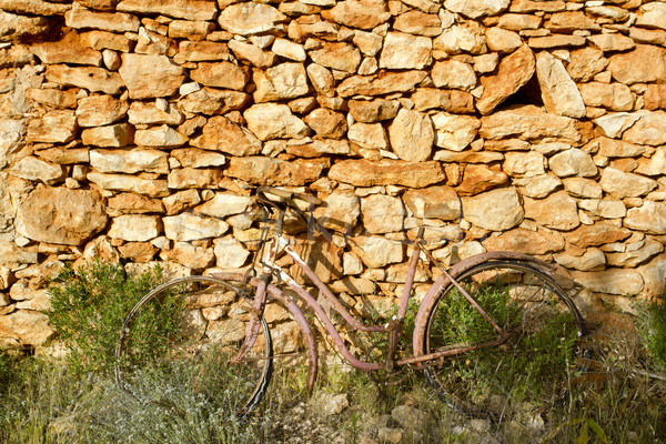 Stock photo: aged bicycle rusty on stone wall romantic melancholy