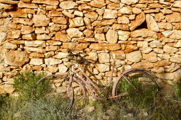 Bisiklet paslı taş duvar romantik melankoli Stok fotoğraf © lunamarina