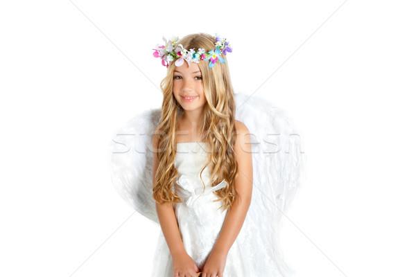 Stok fotoğraf: Melek · küçük · kız · kanatlar · çocuklar · çiçekler · taç