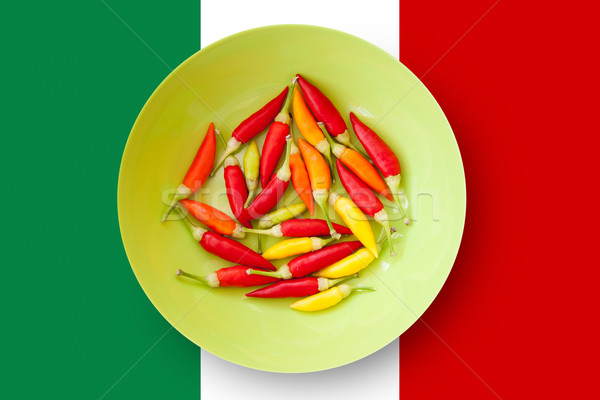 Stock photo: colorful chili peppers plate with Mexico flag