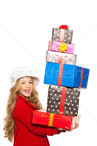 Stockfoto: Kid · meisje · veel · geschenken