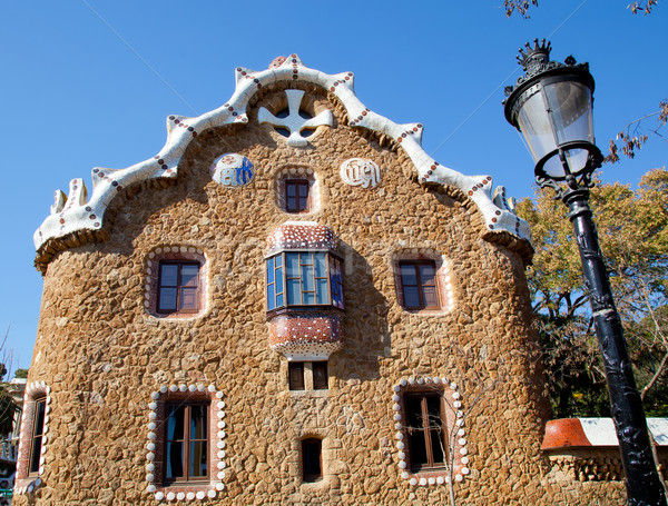 Stock photo: Barcelona park Guell fairy tale mosaic house