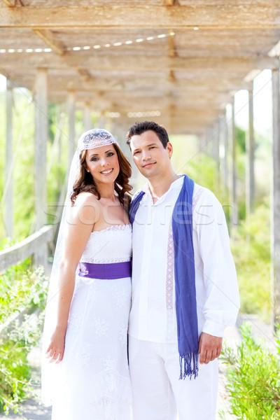 пару счастливым обнять свадьба день улыбаясь Сток-фото © lunamarina