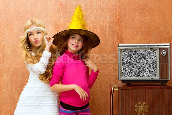 Stock fotó: Gyerekek · 70-es · évek · kettő · gyerek · barát · lányok
