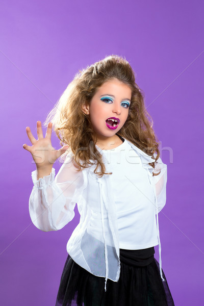Children fashion scaring makeup kid girl on purple Stock photo © lunamarina