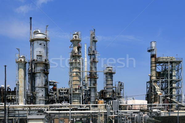 Przemysł naftowy instalacja metal panoramę Błękitne niebo wyposażenie Zdjęcia stock © lunamarina