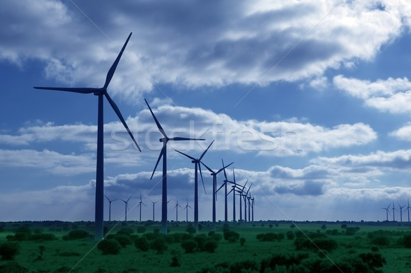 Ecological elecric energy production by windmills in a meadow  Stock photo © lunamarina