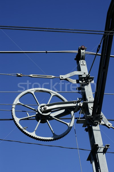 Electric railway steel infrastructure over blue sky Stock photo © lunamarina