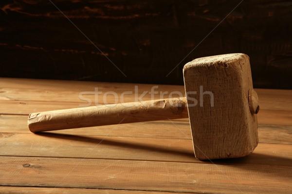 Zdjęcia stock: Młotek · starych · drewna · vintage · działalności