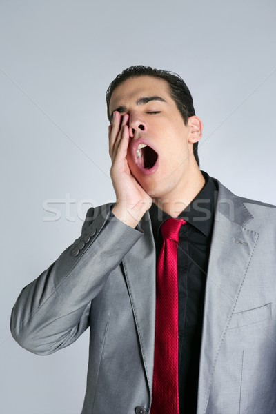 ビジネスマン あくび 退屈な グレー スーツ 赤 ストックフォト © lunamarina