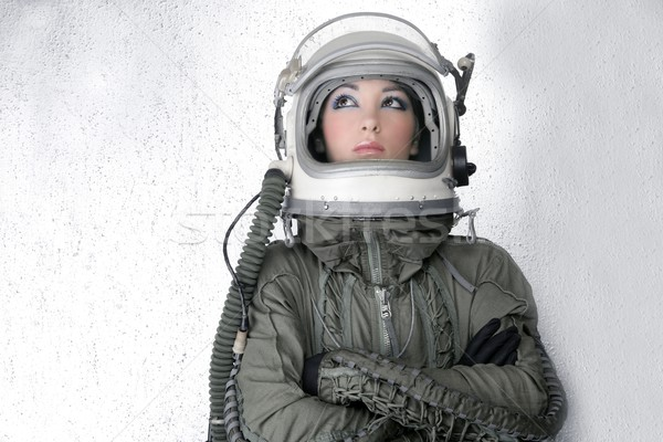 aircraft  astronaut spaceship helmet woman fashion Stock photo © lunamarina