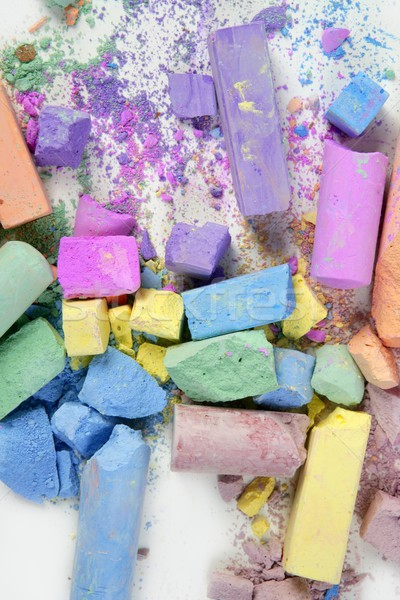 Colorful chalk broken colors mess over white Stock photo © lunamarina