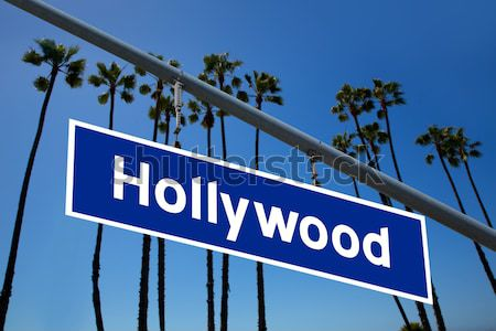 Hollywood redlight sign illustration over LA Palm trees Stock photo © lunamarina
