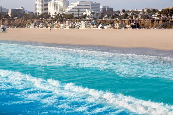 Santa Monica beach view from pier in California Stock photo © lunamarina