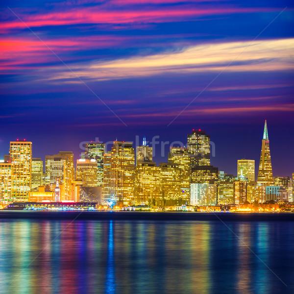 Zdjęcia stock: San · Francisco · wygaśnięcia · panoramę · California · wody · refleksji
