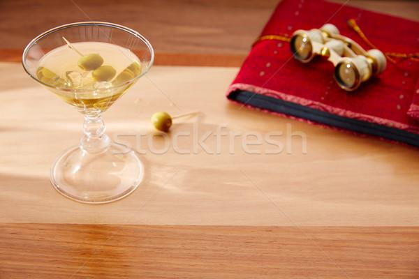white vermouth cocktail with vintage binoculars Stock photo © lunamarina