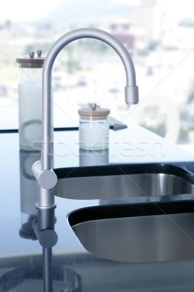 black kitchen stove curved silver stailess sink Stock photo © lunamarina