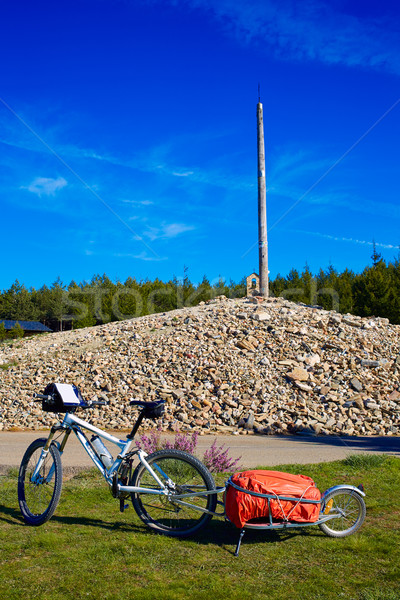 Cruz de Ferro top at Saint James Way Leon bikes Stock photo © lunamarina