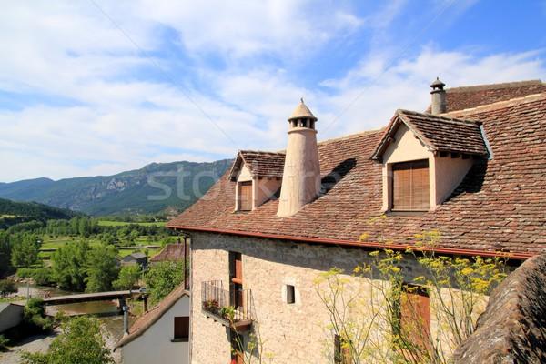 Hecho valley village stone streets in Pyrenees Stock photo © lunamarina