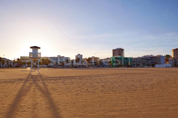 Strand Valencia Spanje middellandse zee hemel zonsondergang Stockfoto © lunamarina