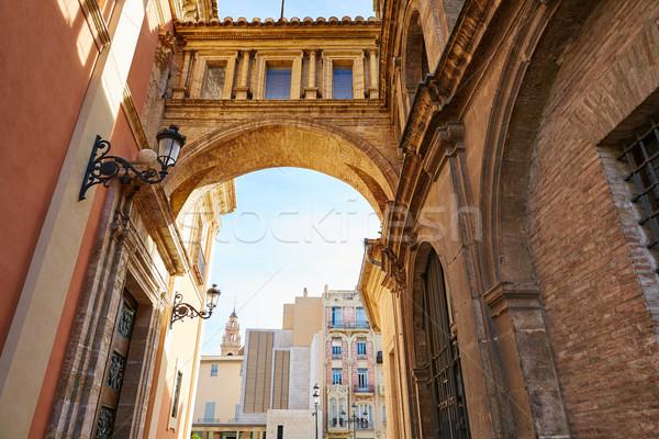 Valencia Plaza Virgen square with cathedral arch Stock photo © lunamarina
