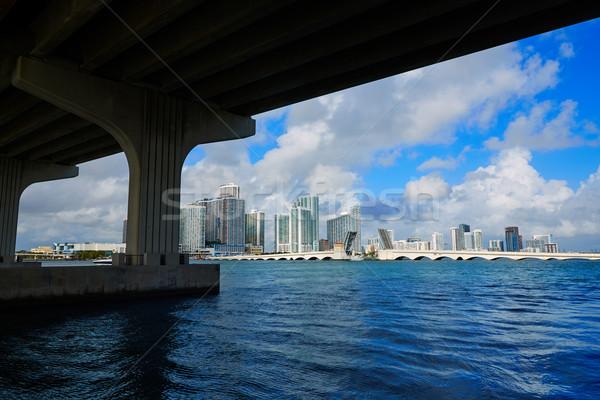 Miami belváros sziluett híd Florida USA Stock fotó © lunamarina