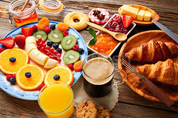 朝食 ビュッフェ 健康 大陸の コーヒー オレンジジュース ストックフォト © lunamarina