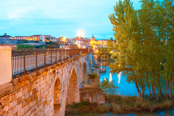 Zamora Puente de Piedra bridge on Duero Stock photo © lunamarina